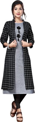 anushansa Women Printed Straight Kurta(Grey, Black)