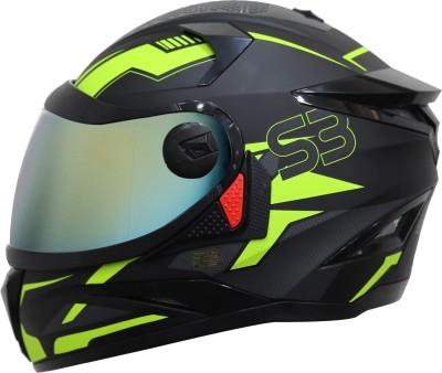 Steelbird SBH-17 Terminator Full Face Graphic Helmet in Matt Black Fluo Yellow Chrome Gold Motorbike Helmet(Black::Yellow)