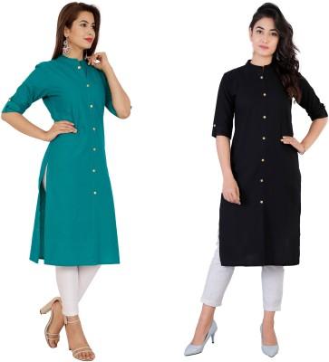 Rimeline Fashion Women Solid Straight Kurta(Green, Black)