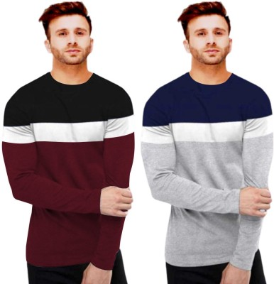 FastColors Solid Men Round Neck White, Maroon, Grey T-Shirt(Pack of 2)