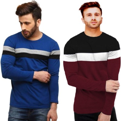 FastColors Solid Men Round Neck White, Blue, Maroon T-Shirt(Pack of 2)