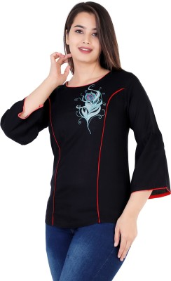 Silkova Casual Bell Sleeve Embroidered Women Black Top