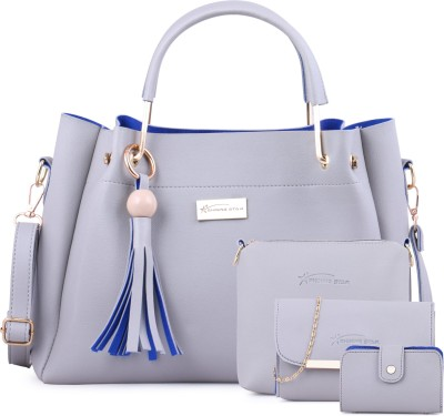 Shining Star Women Grey Hand-held Bag(Pack of: 4)