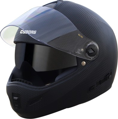 Steelbird Cyborg Double Visor Full Face Helmet, Inner Smoke Sun Shield and Outer Clear Visor Motorbike Helmet(Dashing Black)