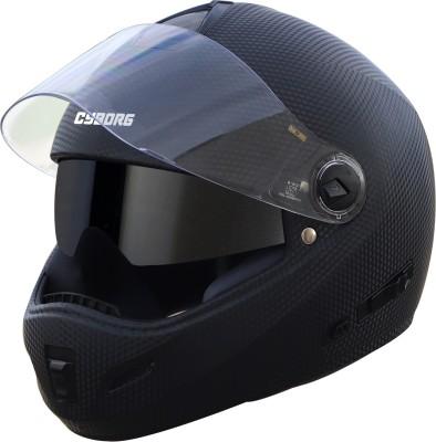 Steelbird Cyborg Double Visor Full Face Helmet, Inner Smoke Sun Shield and Outer Clear Visor Motorbike Helmet(Dashing Black)