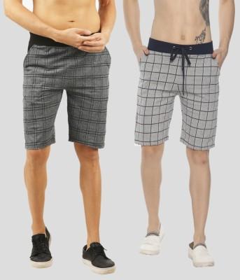 Handgrip Checkered Men Multicolor Regular Shorts