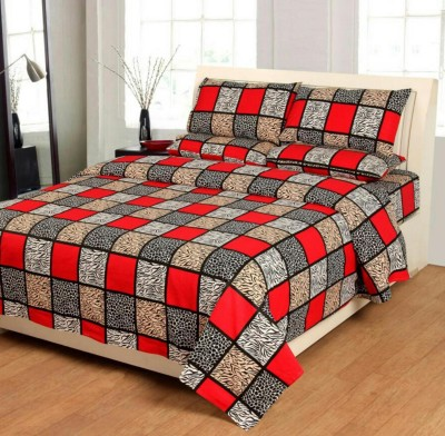 KHF 180 TC Cotton Double Checkered Bedsheet(Pack of 1, Multicolor)