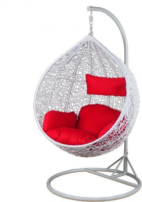 Furniture kart Swing Chair with Stand & Cushion Iron Large Swing(White, Red, Pack of 4)