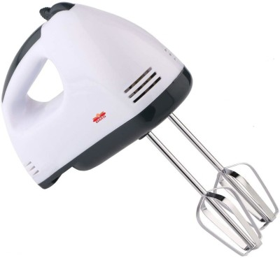 BMS Lifestyle Electric Hand Mixer With Stainless Steel Attachments, 7 -Speed, Includes; Beaters, Dough Hooks 180 W Hand Blender(White)