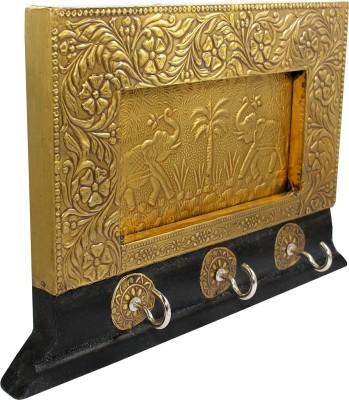 Memoir Pure Brass Gold plated Antique finish, CZ studded Ambhuja Ganesh Ganpati image idol stand Decorative Showpiece  -  5.08 cm(Brass, Gold)