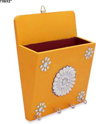 R S Jewels Handmad Paper Mache Designs Key Stand Wooden Key Holder(4 Hooks, Gold)