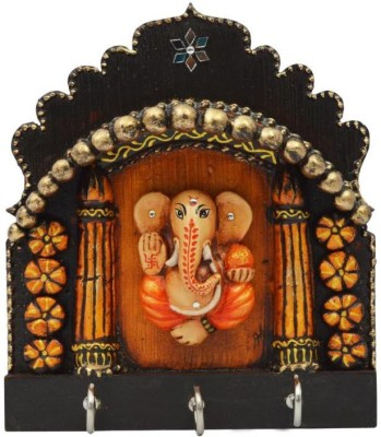 Crafticia Ganesha Wooden Key Hanging With Embosed Work Wooden Key Holder(3 Hooks)  available at flipkart for Rs.549