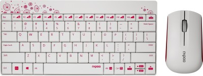 Rapoo 8000 Wireless Keyboard   mouse combo  White   Pink
