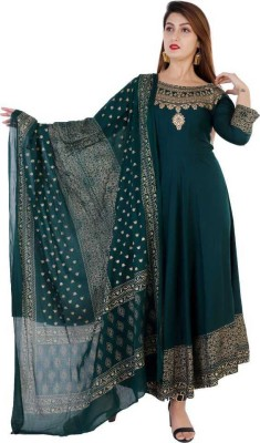 HARITWAL Printed Anarkali Kurta, Bottom & Dupatta Set