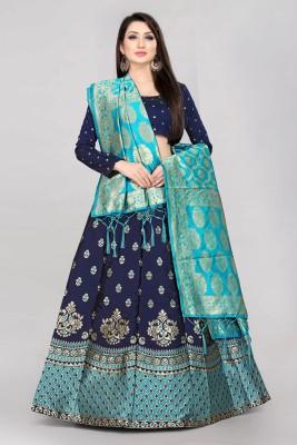 Shree Creation Printed Semi Stitched Lehenga Choli(Blue, Light Green)