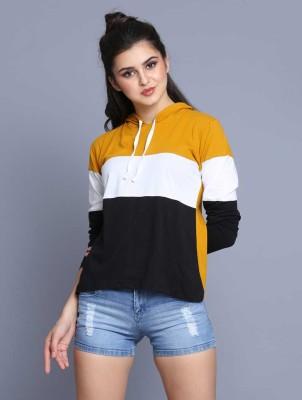 Ragoho Color Block Women Hooded Neck Yellow T-Shirt