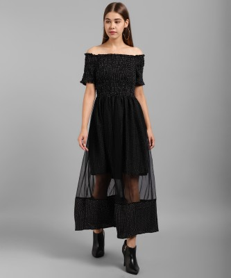 Tamina Women Fit and Flare Black Dress