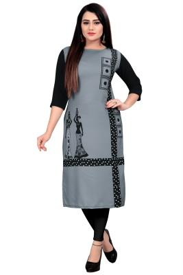 maruti fab Women Printed A-line Kurta(Black, Grey)