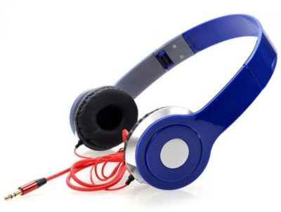 TECHOMANIA Top Selling Best quality Foldable Wired Stereo Sound Headphone Wired Headset(Blue, On the Ear)