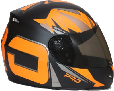Bvcorp O2 sports orange full face helmet with mobile holder Motorbike Helmet(Orange)