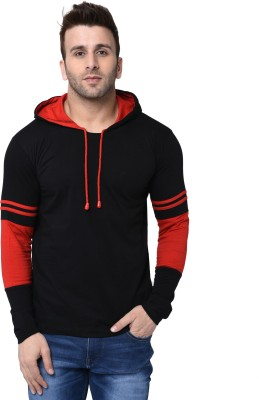 Helmont Striped Men Hooded Neck Red, Black T-Shirt