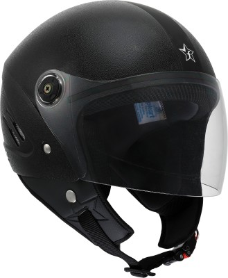 Flipkart SmartBuy Bolt ISI Marked Open-face 100% ABS with Unbreakable Visor Motorbike Helmet(Black)