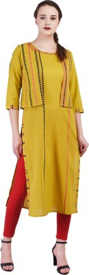shangri la ms designs Women Embroidered, Embellished Straight Kurta(Yellow)