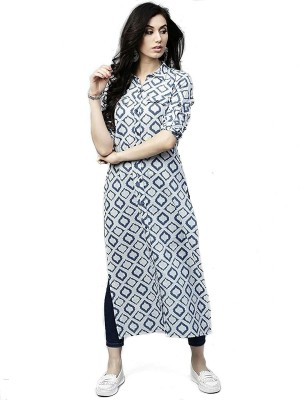 TexStile Women Printed Straight Kurta(Blue)