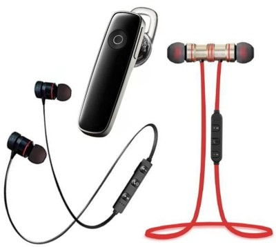 P3A Magnet Black, Red & K1 Bluetooth Pack of 3 Bluetooth Headset(Red, Black, True Wireless)
