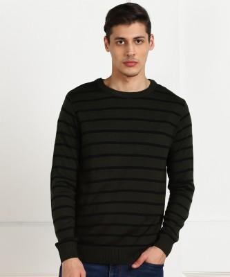 Billion Striped Crew Neck Casual Men Black, Dark Green Sweater