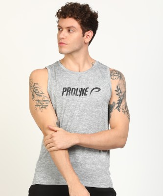 Proline Active Printed Men Round Neck Grey T-Shirt