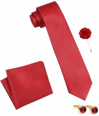 AXLON Satin Tie & Cufflink(Red)
