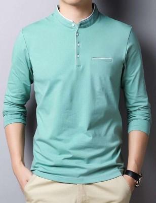 Seven Rocks Solid Men Mandarin Collar Green T-Shirt