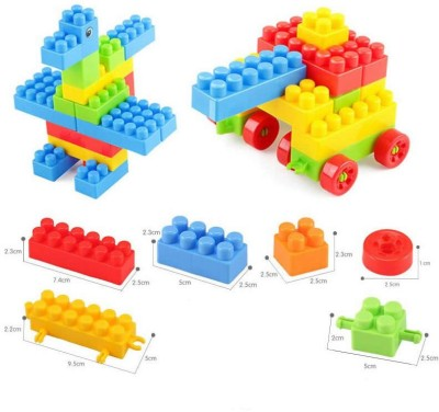 BOZICA NEW ARRIVAL 100 pcs Building Blocks with Wheels Toys for Kids Unbreakable Toys for Brain Development Educational, Learning & Creativity Puzzle Game 3+Year Kids Boys Girls(100 Pieces)