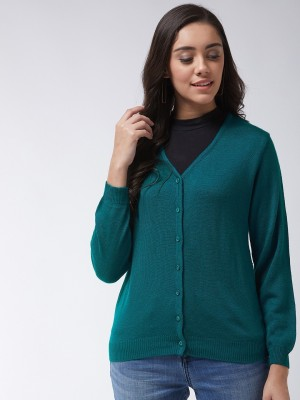 Modeve Solid V Neck Casual Women Green Sweater