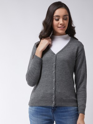 Modeve Solid V Neck Casual Women Grey Sweater