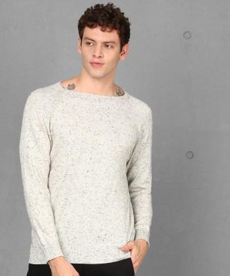 METRONAUT Self Design Boat Neck Casual Men White Sweater