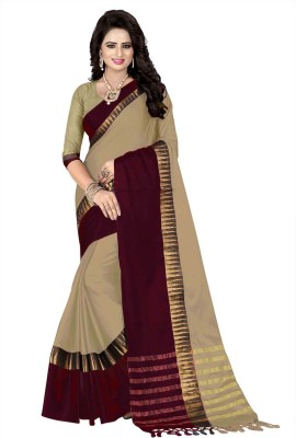 AWESOME Woven Coimbatore Cotton Silk Saree(Magenta, Beige)