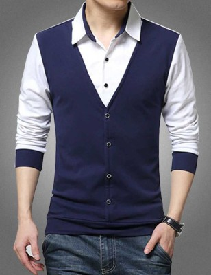 Try This Men Color Block Casual White, Blue Shirt