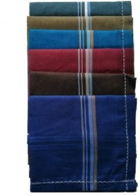 royal mart 12 Piece Dark Color Complete Handkerchief Men's Cotton Striped | Comfortable and Convenient for Long Hours | Multi Colour Handkerchief (Pack of 12) [