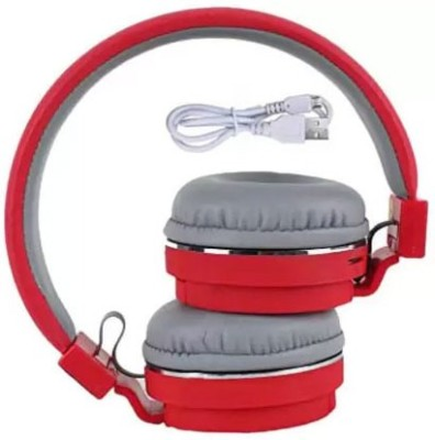 F FERONS Top Sale Headphone With FM and SD Card Slot high powerful sound Bluetooth Headset(Red, On the Ear)