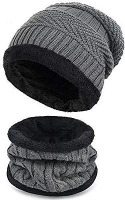 Kolva Grey Furout With Neck Warmer Cap Cap(Pack of 2)