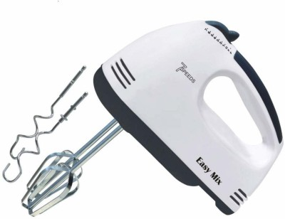 KRENZ Electric Hand Mixer with Stainless Steel Attachments, 7 -Speed, Includes; Beaters, Dough Hooks 180 W Hand Blender(White)