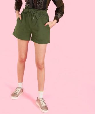 Insua Solid Women Green High Waist Shorts