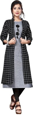 GOMOSWA INTERNATIONAL Women Self Design A-line Kurta(Grey)