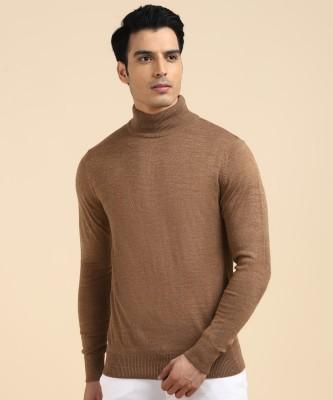 NUMERO UNO Self Design High Neck Casual Men Brown Sweater