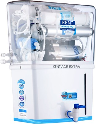 Kent Ace Extra 8 L RO + UV + UF + TDS Control + Alkaline + UV in Tank Water Purifier with Alkaline Water(White)