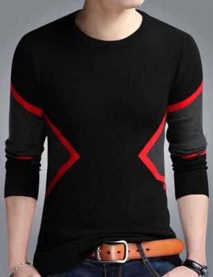 Try This Color Block Men Round Neck Black T-Shirt