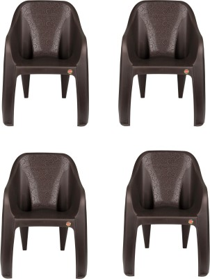 Cello Dynamo Set Of 4 Chair,Brown Plastic Cafeteria Chair(Brown)