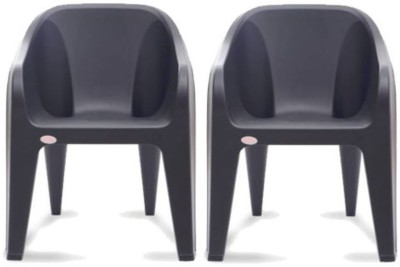 Restomatt Plastic Outdoor Chair(Black, Set of 2)
